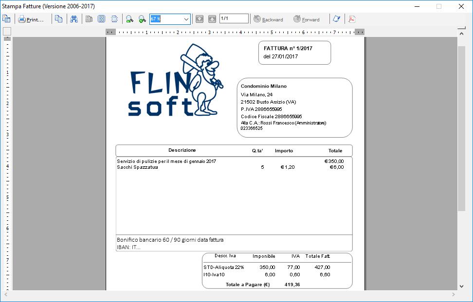 stampa fattura impresa pulizia personalizzata